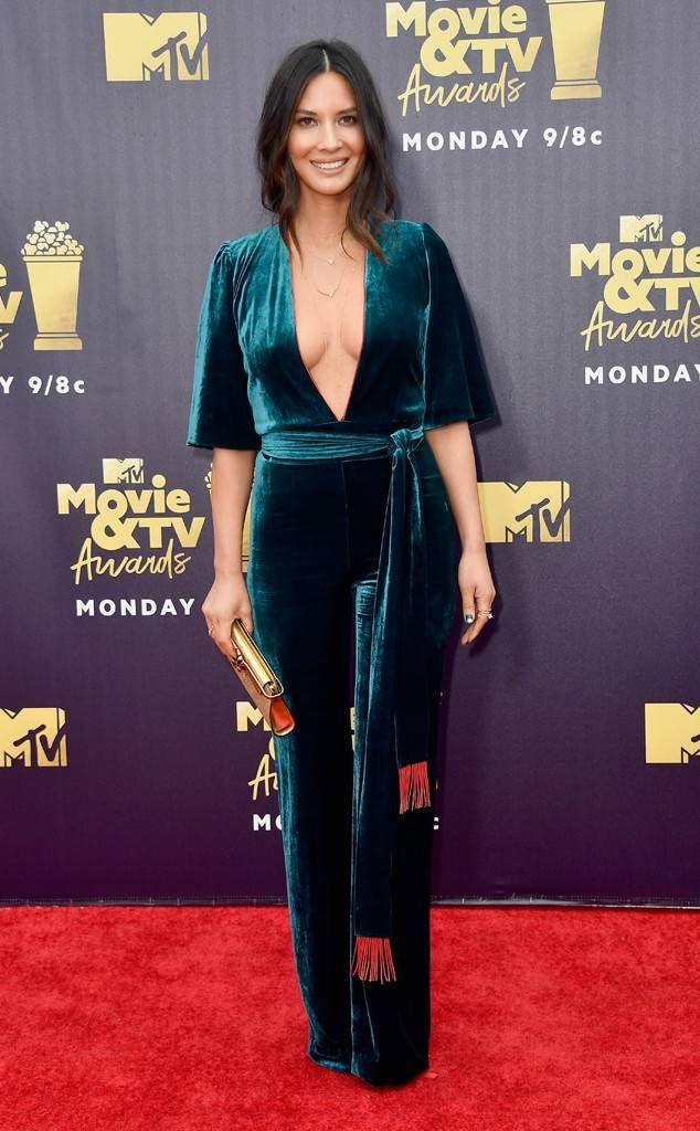 03b96e2e3d Olivia Munn from MTV Movie   TV Awards 2018  Red Carpet Fashion The Six  star looks sleek in a Galvan jumpsuit.