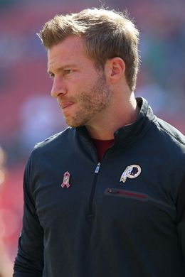 Eagles vs. Redskins:     October 16, 2016   -  27-20, Redskins  -       Oct 16, 2016; Landover, MD, USA; Washington Redskins offensive coordinator Sean McVay stands on the field prior to the Redskins' game against the Philadelphia Eagles at FedEx Field. Mandatory Credit: Geoff Burke-USA TODAY Sports