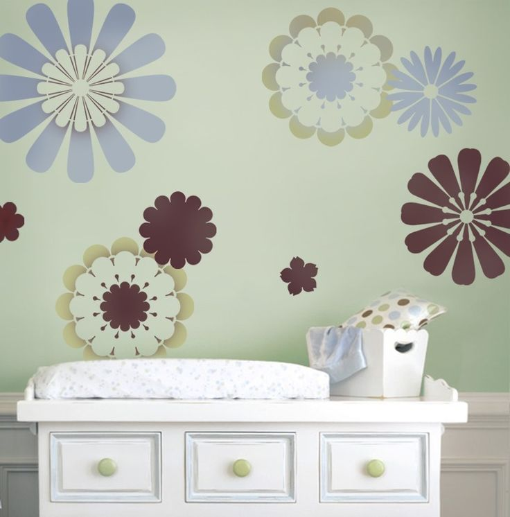 stencils daisy crazy 9 pc easy nursery decor with stencils better than wall decals. beautiful ideas. Home Design Ideas