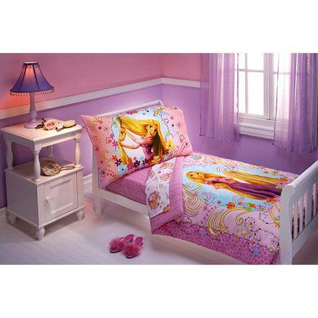Disney Tangled 4-Piece Toddler Bedding Set, Purple
