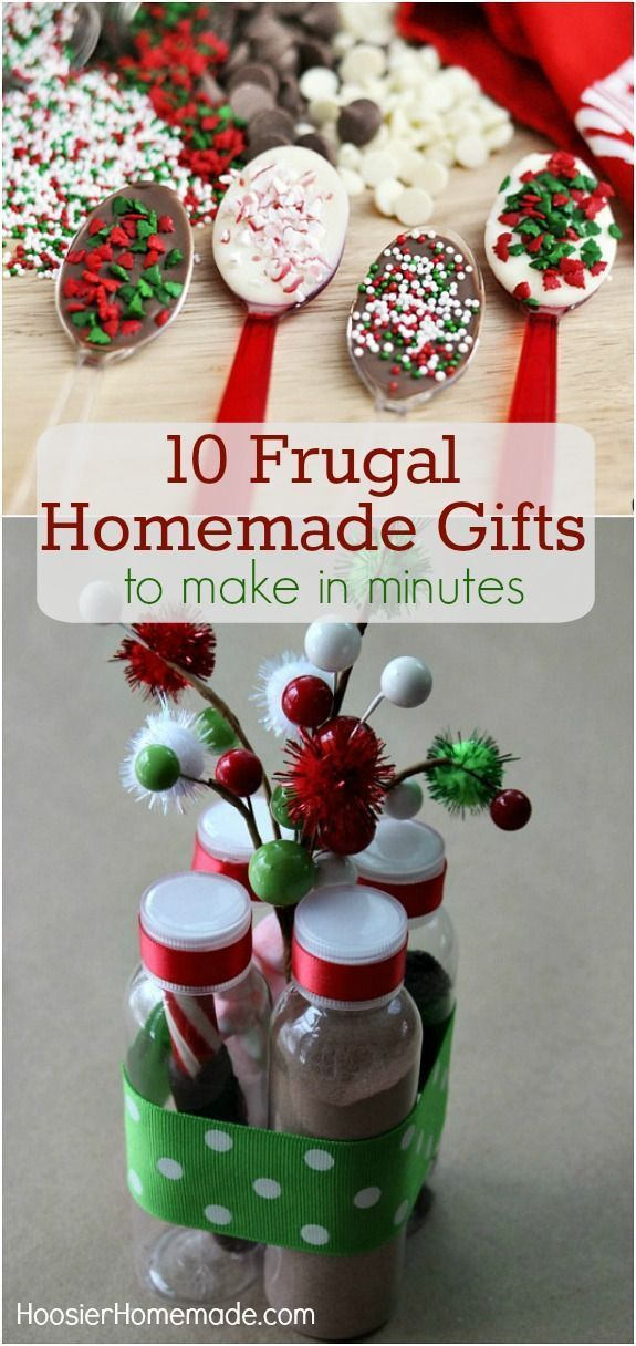 Make one of these 10 Frugal Homemade Gifts in minutes! Your friends will love them and your wallet will be happy! Pin to your Christmas Board!