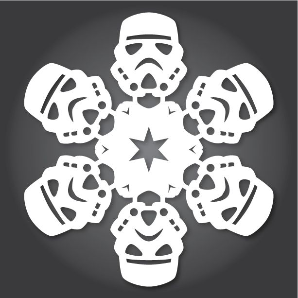 """Stormtrooper Time to get into the holiday spirit! Anthony Herrera has released a new set of DIY paper snowflakes that are all inspired by Star Wars! Back in 2011, we first posted about Matters of Grey's awesome fold and cut creations, and since then, artist Herrera has run with the idea making his own batch for 2012 and 2013. As he states on his blog, """"It happens every year. The days get shorter, a sub-zero chill is in the Hoth air, the wampas start venturing into your hidden home base…"""