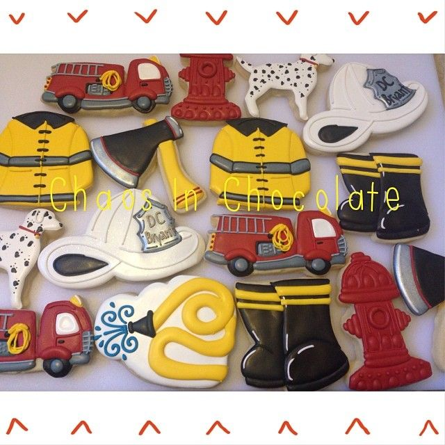 Firefighter cookie set: Truck, coat, chief's hat, hose, boots, hydrant, Dalmation, and ax by Chaos In Chocolate http://www.enjoygram.com/m/637631975609474172_448152182