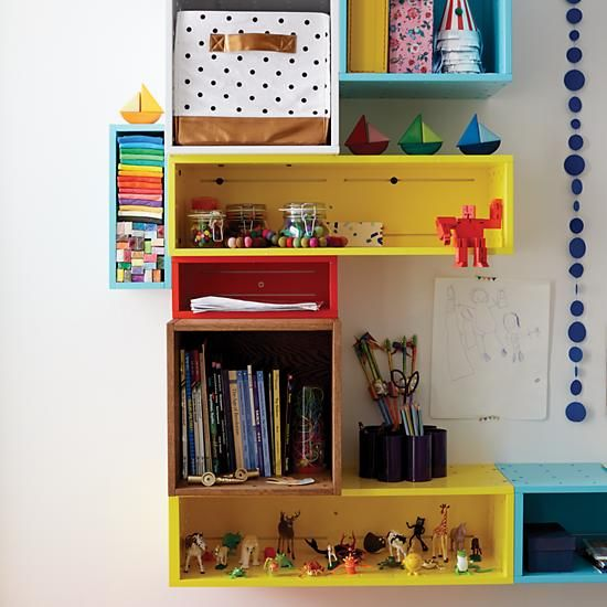 Small Cubby Cube Wall Shelf (Red)    The Land of Nod - system for H's room, in alcove by window