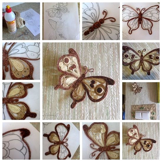 Wonderful DIY Beautiful yarn Filigree Butterfly | WonderfulDIY.com