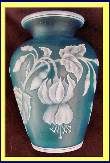 THOMAS WEBB & SONS FOR TIFFANY & CO.  CAMEO ART GLASS VASE IN FUCHSIA MOTIF  c. 1889