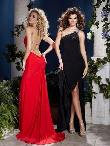 Fashion One Shoulder Red Or Black Chiffon Beaded Accent Top Sell Prom Gown UK