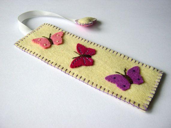 Wool felt bookmark - butterflies: