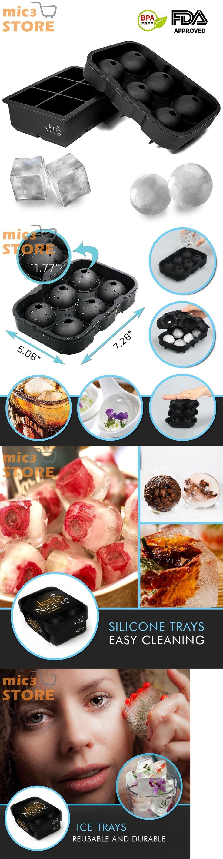 Ice Cube Trays and Molds 177015: 2 Silicone Ice Cube Trays Combo 6 Giant 2 Cubes + 6 Ice Balls 1.75 Cold Drinks -> BUY IT NOW ONLY: $43.92 on eBay!