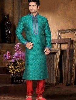 Trendy Teal Green Jacquard Art Silk Wedding Wear Kurta Pajama