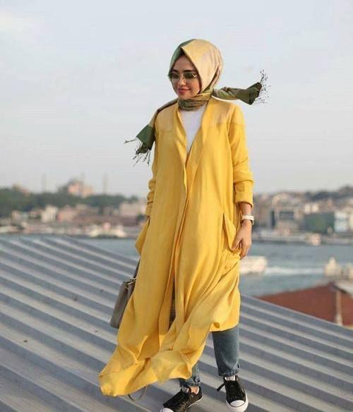 yellow chiffon cardigan hijab