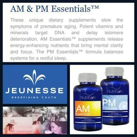 Jeunesse products.... AM Essentials™ provides lasting daytime energy and increases concentration, while PM Essentials™ helps prepare you for a restful night's sleep so your body can focus on cell maintenance and renewal. This balanced approach towards healthy aging gives you the tools you need to improve your quality of life from the inside out.