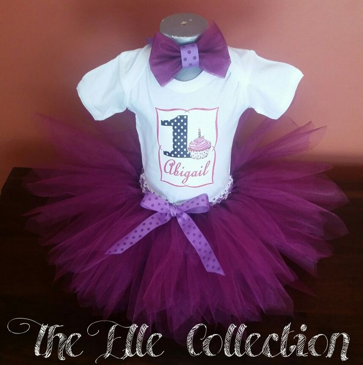 Dark purple Cupcake first birthday Tutu skirt with personalized shirt and matching headband custom made by the Elle Collection in South Africa.  To order email Karin on theellecollection13@gmail.com