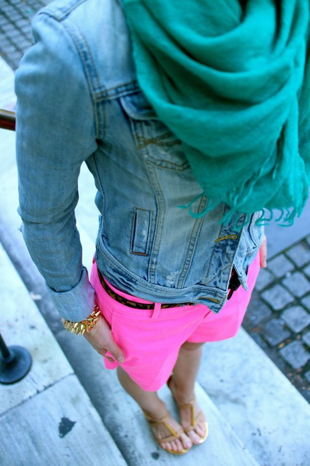 Hot pink//turquoise TheOriginalPrep I really want pink shorts or pants! give me courage!!!1