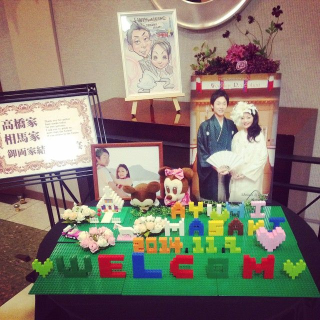 今日♡ レゴのウエルカムボードは新婦さんの手作りだって‼️ かわいー✩°。⋆ #結婚式#bridal#レゴ#LEGO#お幸せに♡#幸せおすそ分け