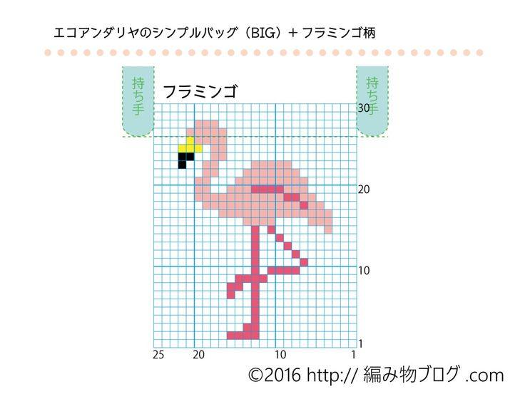 ハマナカのエコアンダリヤバッグの無料編み図にフラミンゴ柄の図案を乗せてみた(前編) – 編み物ブログ.com