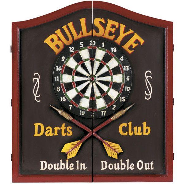 Bullseye Wooden Dartboard Cabinet Man Caves Game Room Dart
