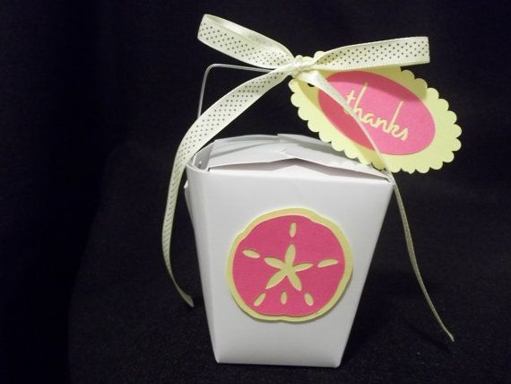 I love these Sand Dollar favor boxes! They are perfect for a Beach themed wedding or Destination wedding!