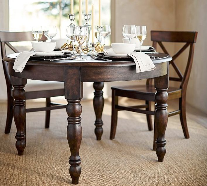 Evelyn Extending Round Dining Table 84 X Rustic Brown Finish