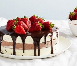 Chocolate and Vanilla Ice Cream Cake with Strawberries: This triple-layer ice cream cake combines the classic flavours of chocolate, vanilla, and strawberry into the perfect treat to please everyone. Leave yourself plenty of time so each layer of the cake can freeze, and tell guests it took hours  though you were only in the kitchen for 20 minutes!).