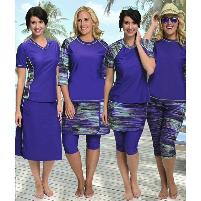 No matter what your #coverage preference is, our Purple Rain collection has something for everyone! From sleeveless to long sleeve #rashguards, from shorts to long #swimskirts, this line is #chic, comfortable, and UPF 50+ sun protective! So have no fear,