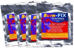 Burn-FIX- Burn Care Treatment & First Aid Hydrogel Burn Dressing 4 X 4. Immediate Pain Relief Gel/Cream For First & Second Degree Burns, Chemical Burns, Electrical Burns, Grease Burns, Razor Burns and Sunburns. For First Aid Kits at Home, Boat, Camp, Hike and All EMS/RESCUE