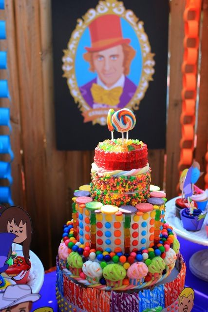 Wow!  Love this candy cake at a Willy Wonka birthday party!   See more party ideas at CatchMyParty.com!