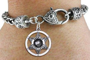 """Sheriff Department Badge"" Charm Bracelet Jewelry"