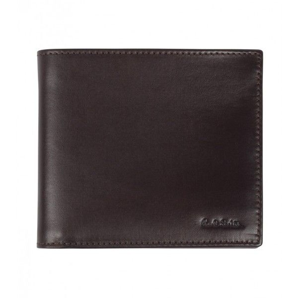 Paul Smith Brown Leather Bi-Fold Logo Wallet ($195) ❤ liked on Polyvore featuring men's fashion, men's bags, men's wallets, mens leather wallets, mens bifold wallets, bi fold mens wallet, mens brown leather wallet and mens leather bifold wallet