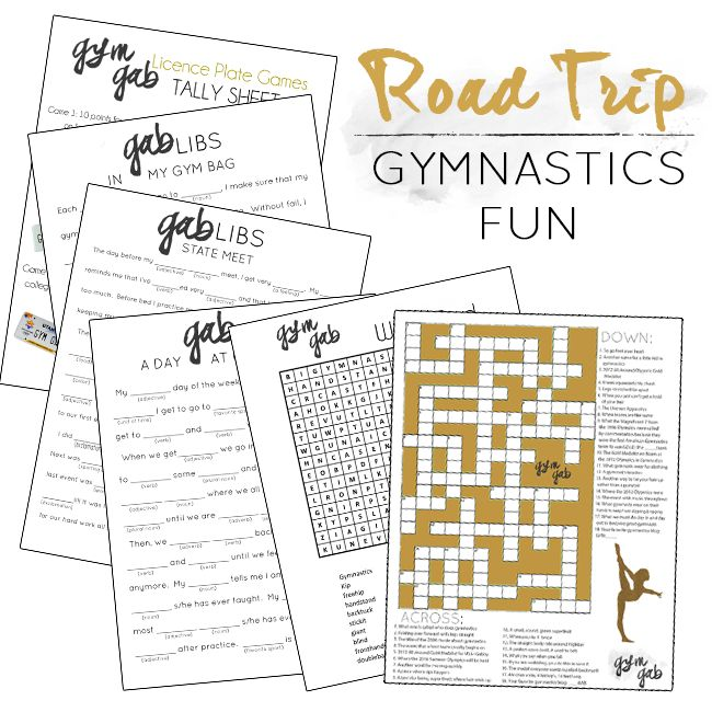 FREE PRINTABLES: Gymnastics Mad Gabs, Crossword, Word Search, and a License Plate Game! Great for road trips to competitions. | Gym Gab Blog