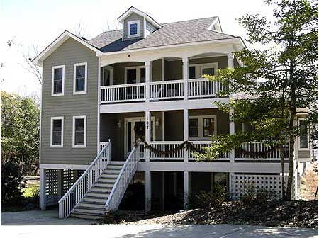 Plan 13034fl beach house plan with two story great room for Two story beach house