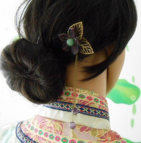 Natural amethyst old fashioned hair stick, Chinese style