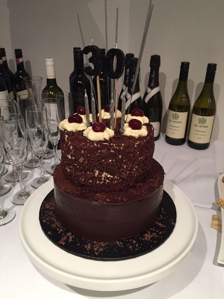 2 Tier Jaffa & Blackforest Birthday Cake - jaffa chocolate mud with orange chocolate ganache & blackforest cake. Happy Birthday Tom! October 2014