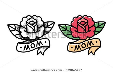 Old school rose tattoo with ribbon and word Mom. Two variants, traditional black dot style and color ink. Isolated vector illustration.