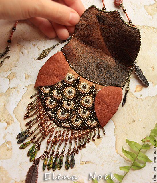 Совушка кулон кармашек Вышитая бисером сова с секретом. Handmade.