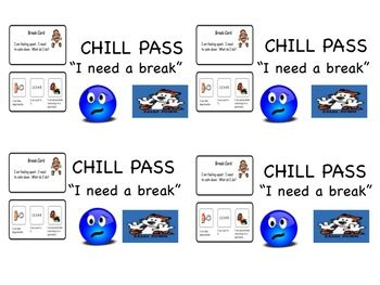 """This product is a """"Chill Pass"""" that says """"I need a break"""" on it. It also contains pictures of how a student may feel at a stressful time or a """"breaking point."""" Additionally, coping strategies are included in the card to help the student with what to do during the break. Coping strategies include counting to 5, taking a deep breath, and going to a quiet place. This is an excellent tool for students who get frustrated in class and need a brief time out ..."""
