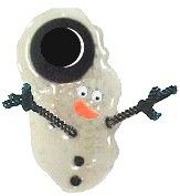 Melted Snowman Girl Scout swap.. glue gun glue, mini hat, pipe cleaner, googley eyes, paper carrot and beads.. add a safety pin and you have a swap! love these! :))