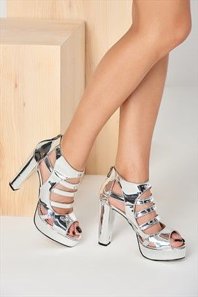 Platin Kadın Platform Topuklu Ayakkabı