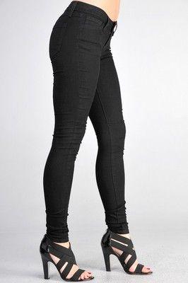 Plus Size Skinny Jeans Jeggings Women's Slim Trousers Black Denim Dark Pants | eBay