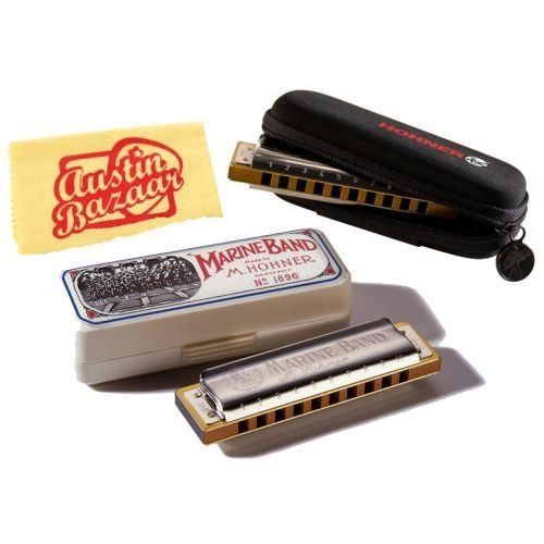 Hohner 1896 Marine Band Diatonic Harmonica Bundle with Harmonica Pouch and Polishing Cloth - Key of C by Hohner. $37.99. Bundle includes Hohner 1896 Marine Band Diatonic Harmonica, Harmonica Pouch and Polishing Cloth.The one, the only, the original. The Marine Band has been the cornerstone of the harmonica industry for over 100 years and was there when harmonica blues was born. THe chosen harp for Big Walter and Little Walter, it was later played by every serious harmonica ...