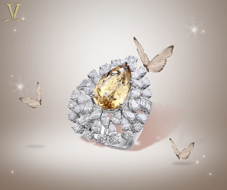 A citrine studded diamond ring that will make you start believing in fairytales. #ForeverAndAlways