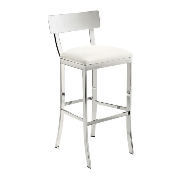 Maiden Sleek bar or counter stool bines modern design with fort Heavy chrome finish on