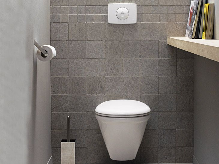 D Coration Wc Suspendus Downstairs Loo Tile Flooring And Laundry