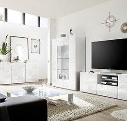 Sala completa di base porta tv, madia 3 ante e vetrina in bianco laccato lucido serigrafato