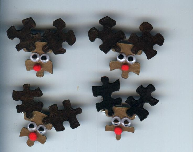 Reindeer Puzzle Piece Craft Pin... could use puzzles from the dollar store.