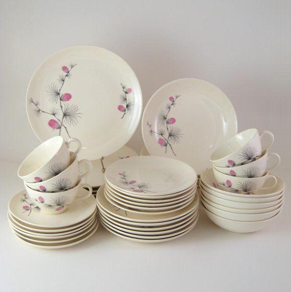 vintage dinnerware set service for 6 canonsburg wild clover midcentury dinnerware - Dishware Sets