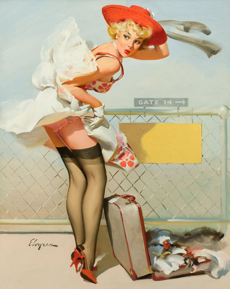 GIL ELVGREN (American, 1914-1980). Up in the Air (Whooooooosh!), | Lot #78137 | Heritage Auctions