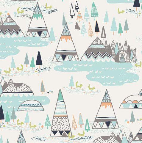 Tipi literie de bébé - Motel changeant housse / Mini crèche - Woodlands enfant lit feuille - monté feuilles Boys - literie de bébé menthe