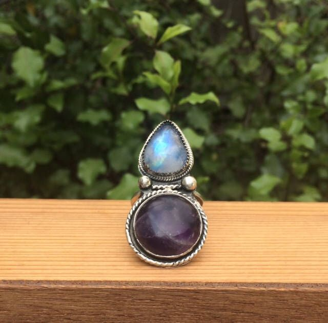 Reserved for Jessica :) - Amethyst & Moonstone Statement Ring by GemAndTonik on Etsy https://www.etsy.com/au/listing/545924290/reserved-for-jessica-amethyst-moonstone