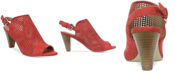 Tahari Eloise Perforated  Slingback Sandal suede blood orange, black, fawn 3h sz7.5 109.00 5/16